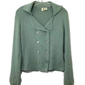 Moth sage green button cotton cardigan sweater